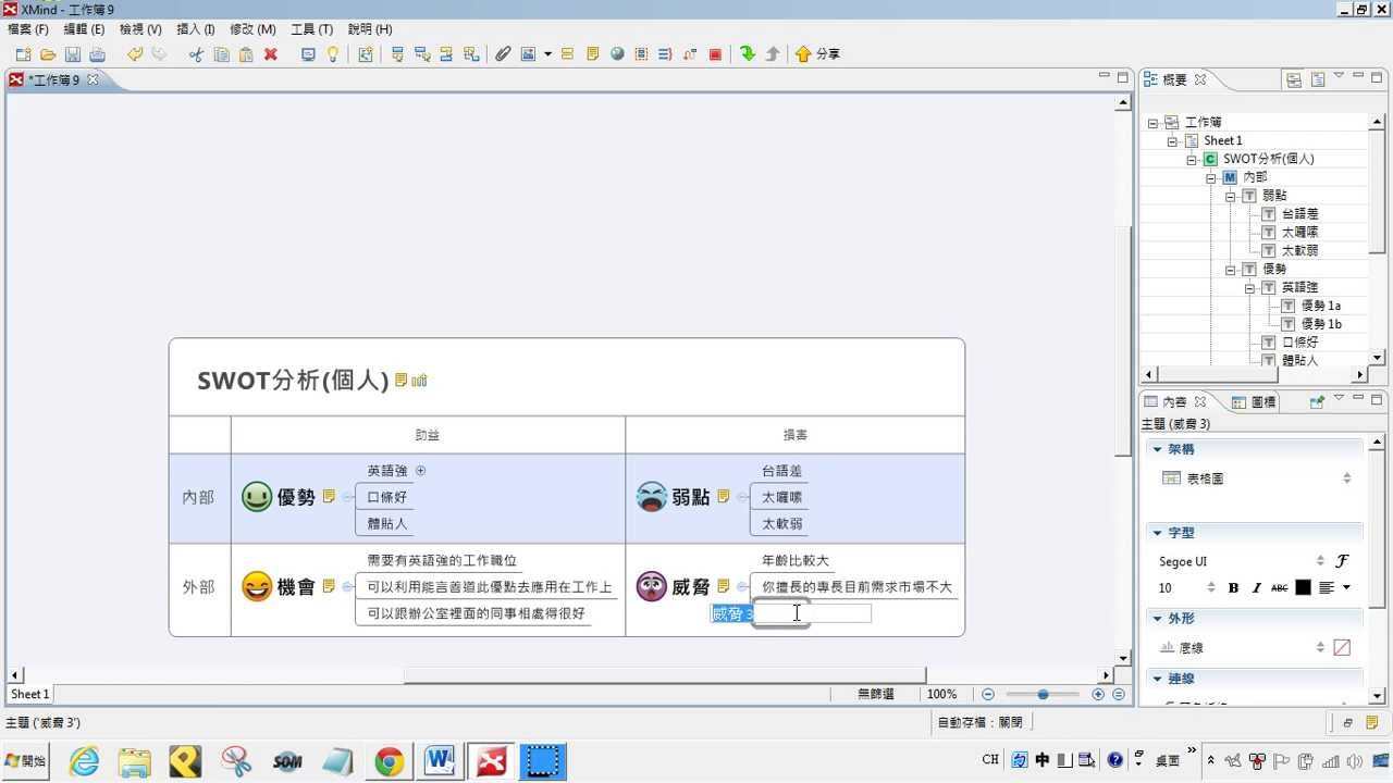 Xmind心智圖:教學005-SWOT分析操作介紹 【軟雲應用】 - YouTube