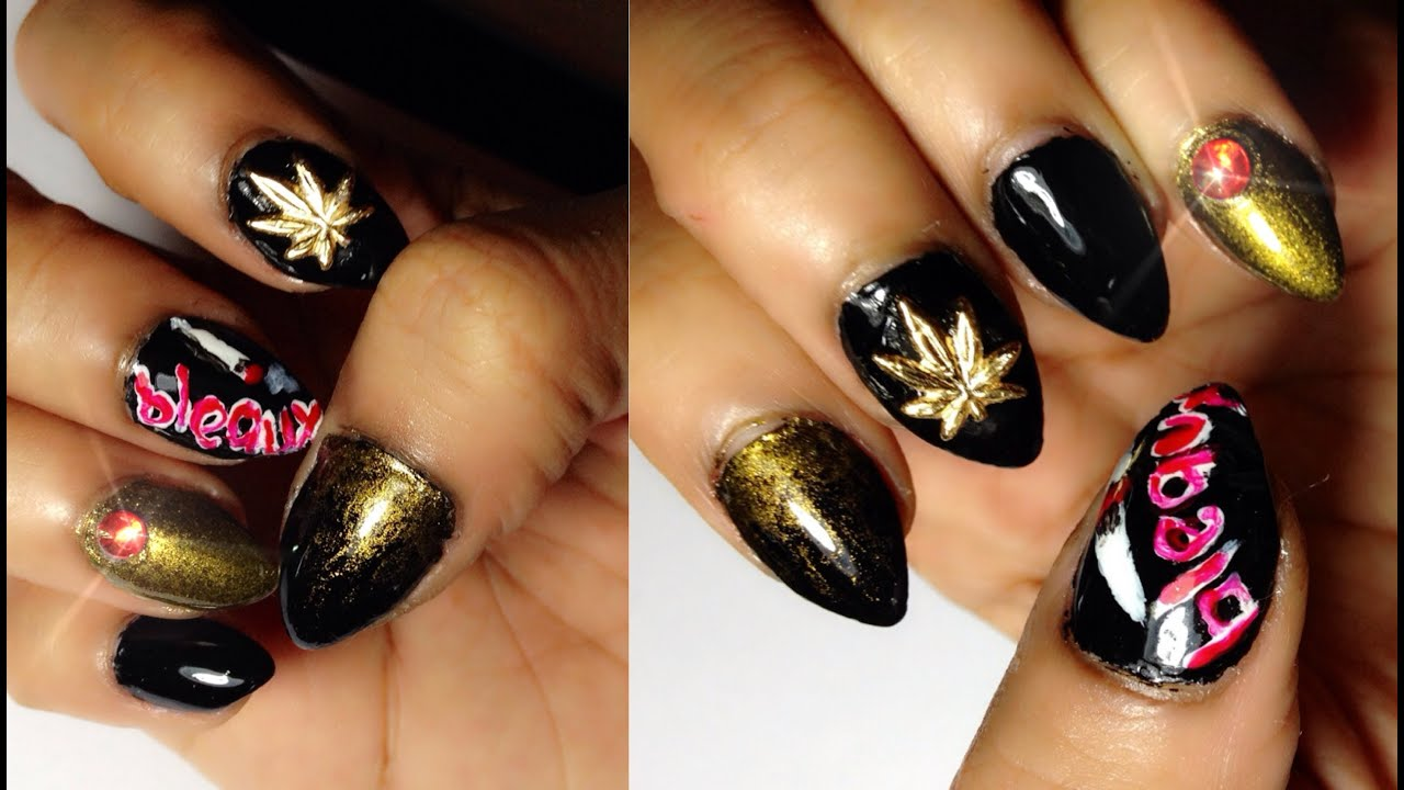 Ganja Inspired Nail Art Tutorial - For Mary Jane Lovers - YouTube