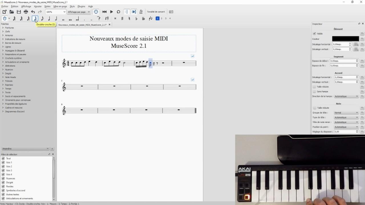 MuseScore 2 1 : Saisie MIDI Temps Réel Automatique