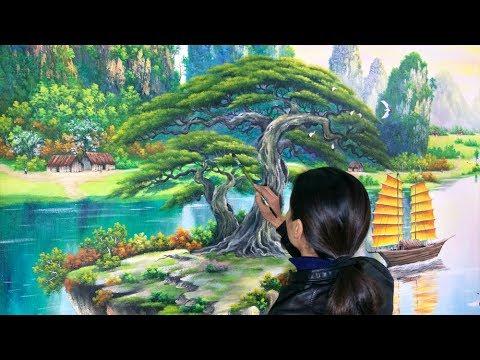 Vẽ tranh tường 3d phòng khách phong cảnh sơn thủy. ĐT: 0969.033.288/Nhận dạy các khóa học vẽ tranh.