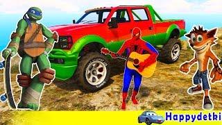 Человек паук с друзьями катается на цветных машинках, мультики для детей(Человек паук с друзьями катается на цветных машинках, мультики для детей песенки для детей песенки про..., 2016-11-25T17:02:30.000Z)