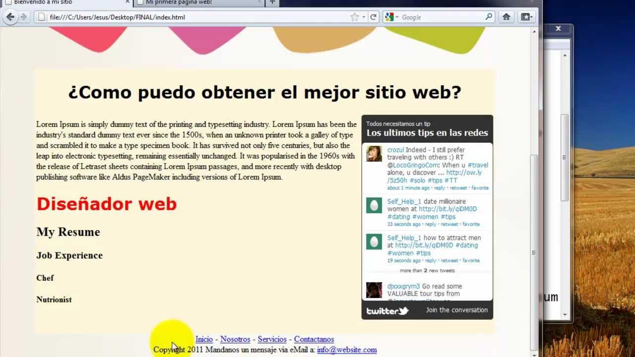 Como crear una pagina web completa en html 5 youtube Crear website