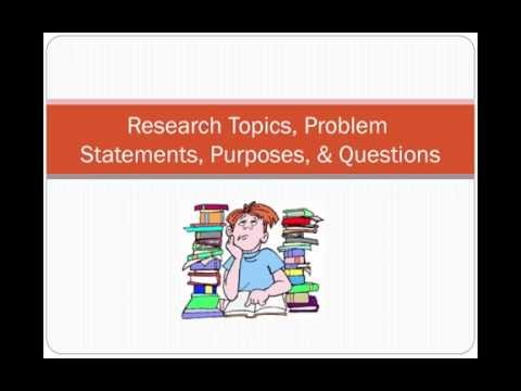 Research Topics, Problems, Purpose, and Questions