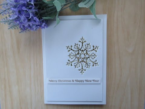 Gold Embedded Snowflake Card