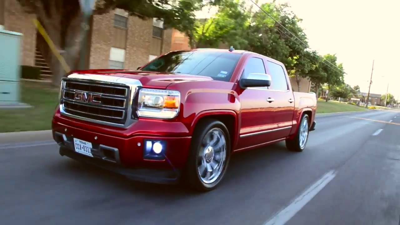 2014 GMC Sierra on 4/7 drop with Apple red Candy paint job ...