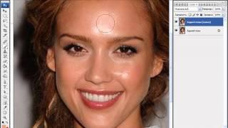 Photoshop Фотошоп - Убираем жирный блеск (блик) с лица