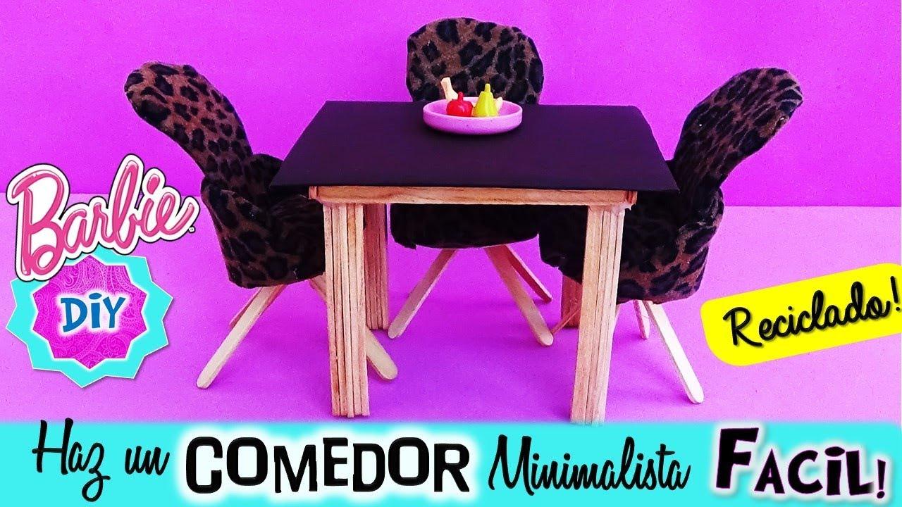 Como hacer COMEDOR con Mesa y Sillas para tu Coleccion de MUÑECAS Barbie//  Muebles en miniatura