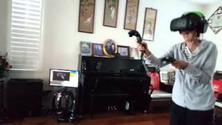 lady freaking out over zombies with brookhaven experiment on htc vive virtual reality headset