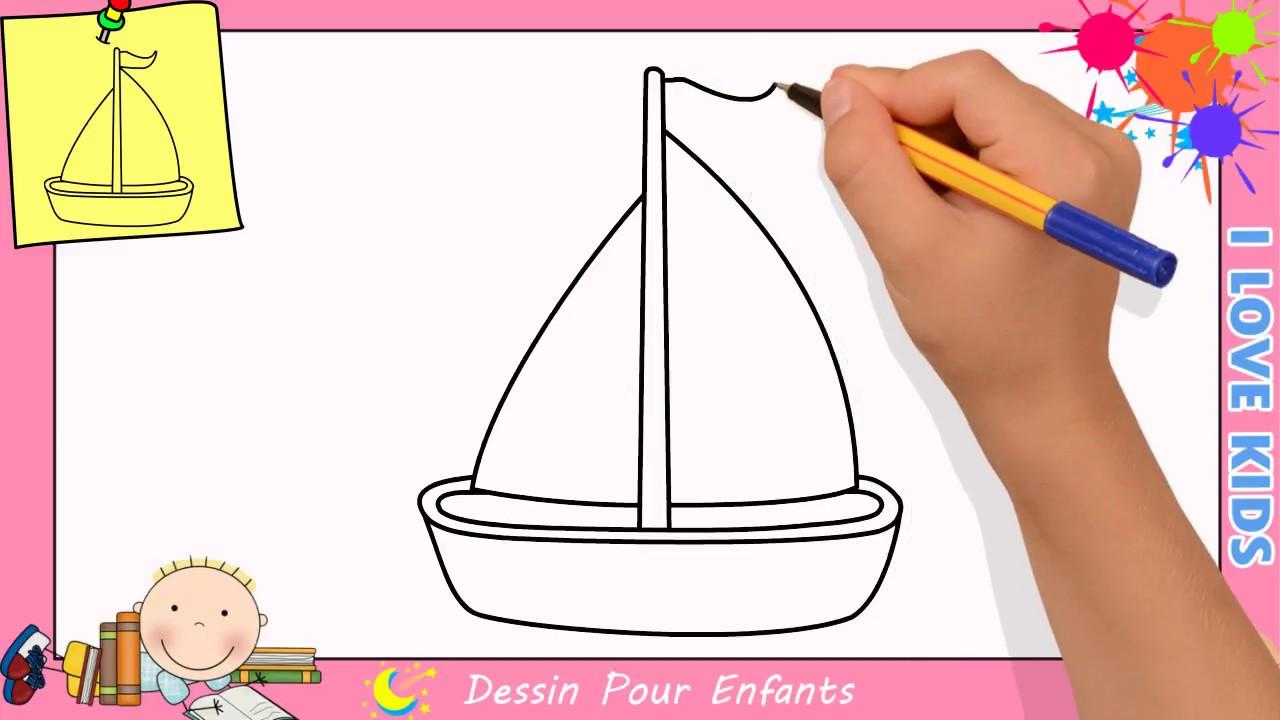 Comment dessiner un bateau a voile facilement etape par etape pour enfants 2 youtube - Bateau a dessiner ...