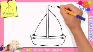 Comment Dessiner Un Bateau A Voile Facilement Etape Par Etape Pour Enfants 2 Youtube
