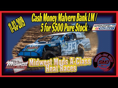 Midwest Modified Racing A➜Class Heat Races Springfield Raceway 11➜03➜2019  Dirt Track Racing