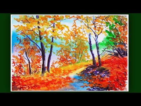Видеоурок рисуем осень акварелью