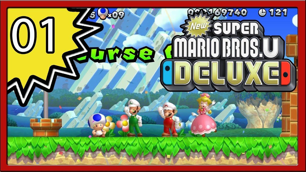 New Super Mario Bros U Deluxe Part 1 4 Player Youtube