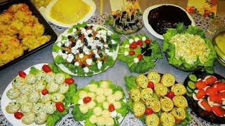 ПРАЗДНИЧНЫЙ стол на День Рождения. Готовлю 12 блюд! Закуски, салаты, горячее. Праздничное меню.