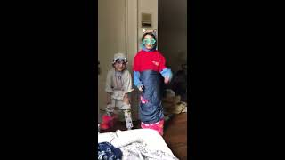 Cute kids dressed up as grandparent