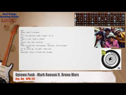 Uptown Funk - Mark Ronson ft. Bruno Guitar Backing Track with chords and lyrics