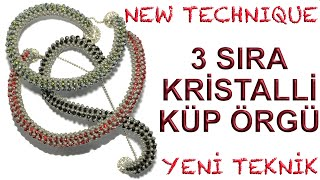 3 sıra kristalli küp örgü (3 rows of crystal cubic raw bracelet)