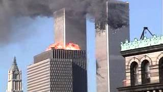 Rooftop view of 2nd plane hitting South Tower