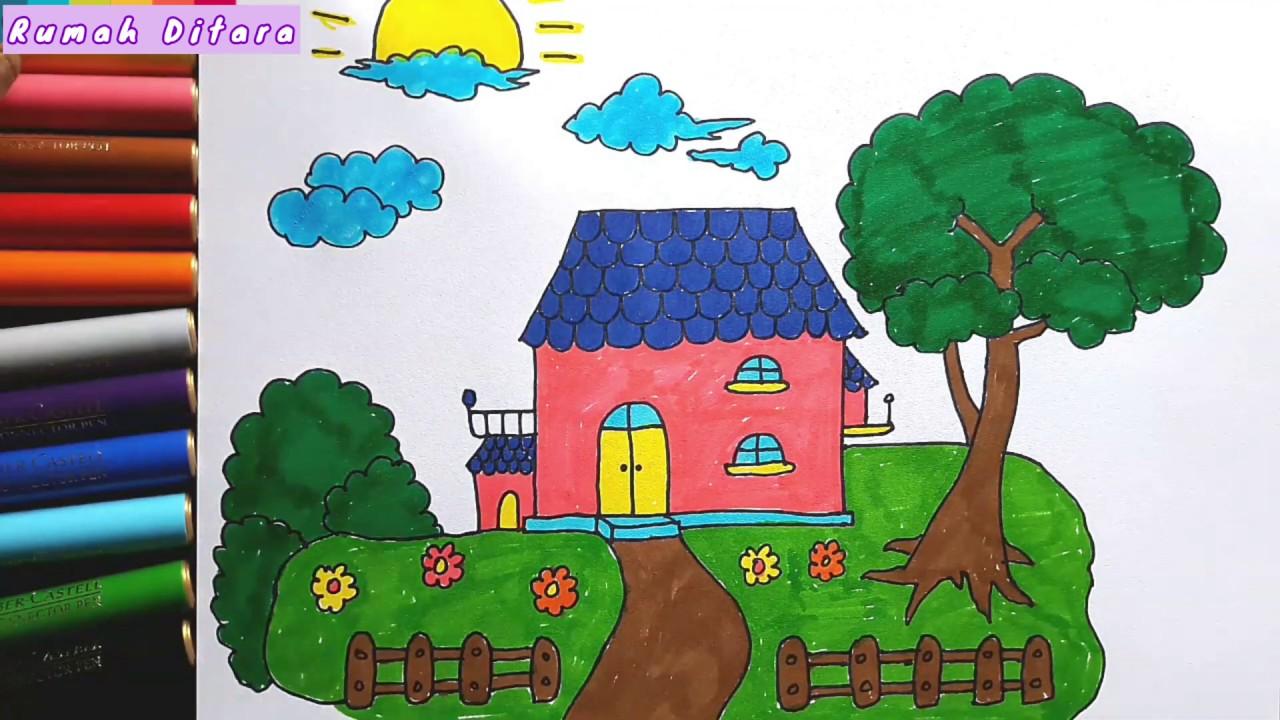 Menggambar Dan Mewarnai Gambar Rumah Dan Halaman Drawing And Coloring Colorful Garden House Youtube