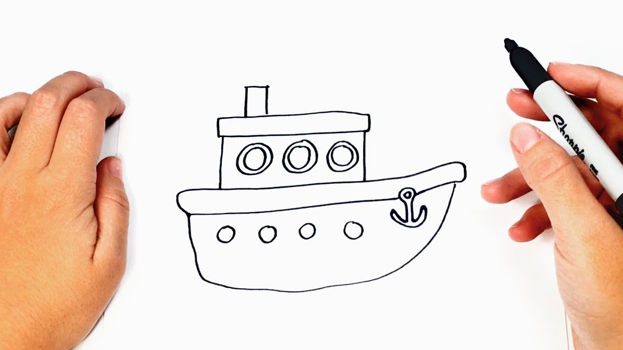 C mo dibujar un barco paso a paso dibujo f cil de barco - Imagenes de barcos infantiles ...