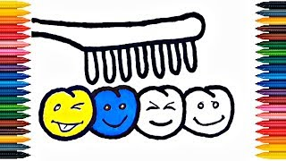 Drawing Toothbrush and Smiley Teeth How to Draw Toothbrush Coloring Book Teeth Coloring Page