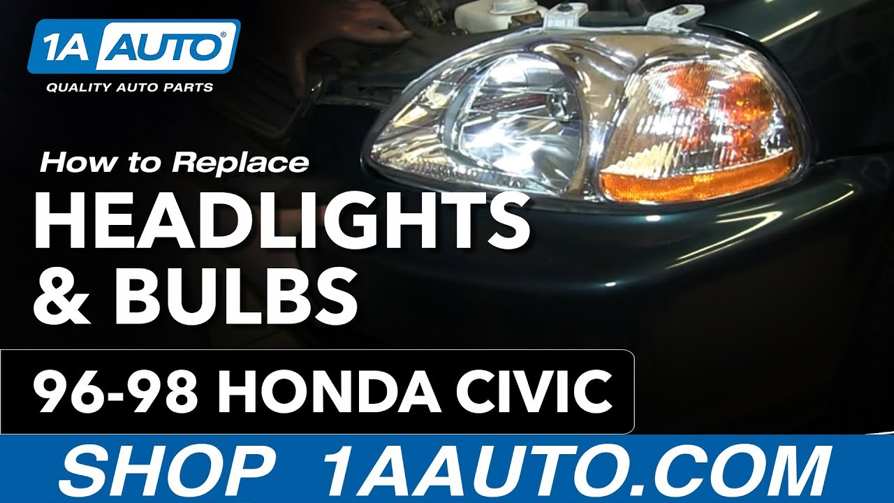 How To Install Remove Change Headlights And Bulb 1996 98 Honda Civic 2000 Hx 16l Mfi Vtece Sohc 4cyl Repair Guides