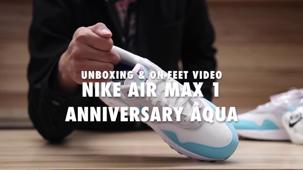 4dd7e2eb239b38 Nike Air Max 1 Anniversary Aqua   On feet Video at Exclucity - YouTube