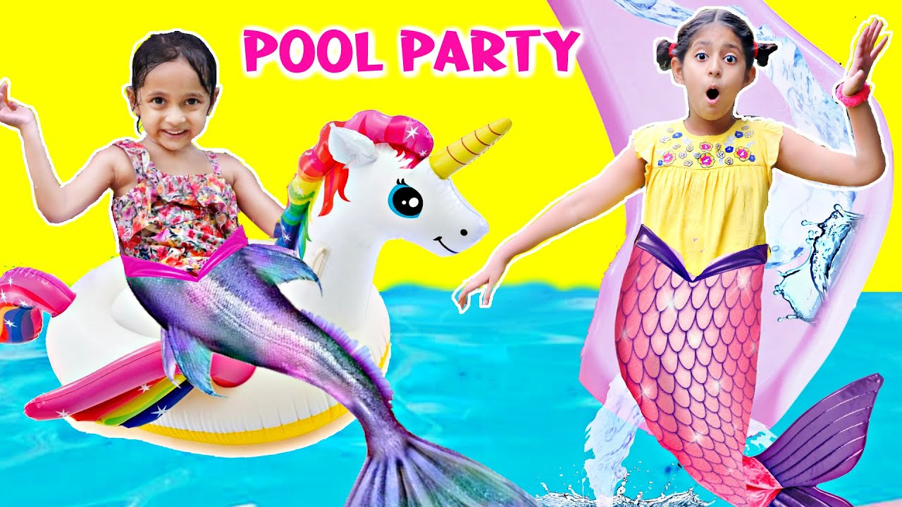 Kids SUMMER POOL Party with Inflatable Toys | ToyStars