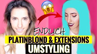 Endlich von Dunkelbraun zu PLATINBLONDEN Haaren mit EXTENSIONS |Umstyling