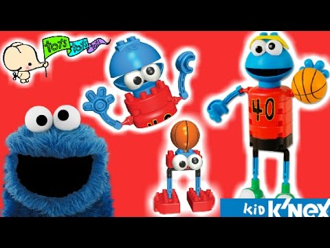 Lets Play with K'NEX Sesame Street Cookie Monster's Basketball! Juguemos con El Come Galletas!