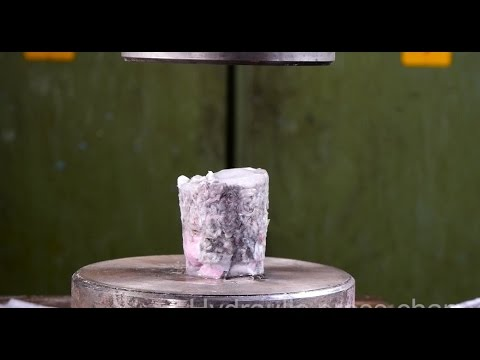 Crushing pykrete with hydraulic press