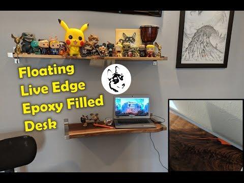 DIY Floating Live Edge Epoxy Filled Desk