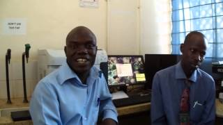 Data Clerks Yasin and Charles from the laboratory in Mbale Hospital talk about their work
