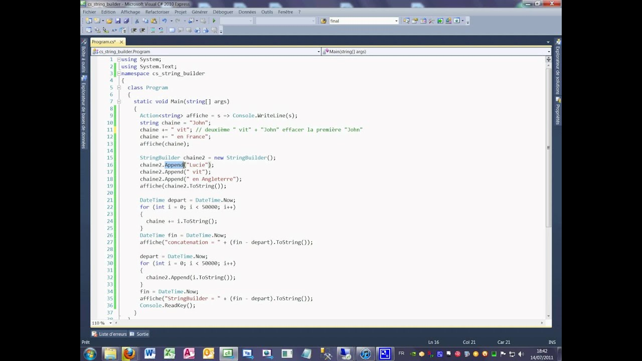 Tutoriel 9 C# en français - La concaténation de chaine et la classe Stringbuilder