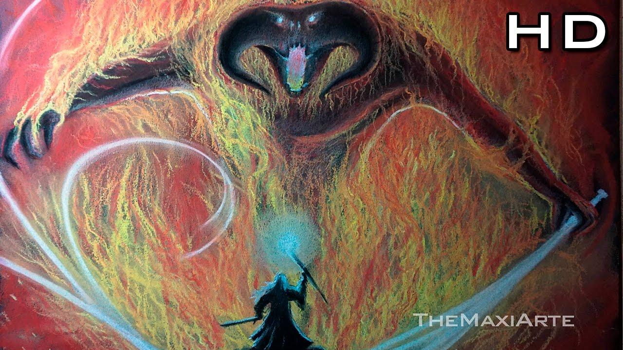 Gandalf vs Balrog Dibujo al Pastel - FanArt El Señor de los Anillos ...