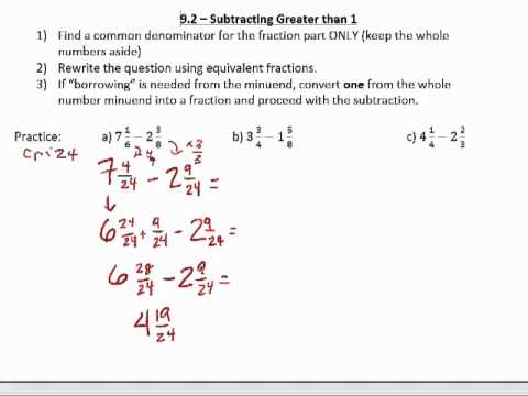 grade     subtracting mixed fractions greater than   youtube