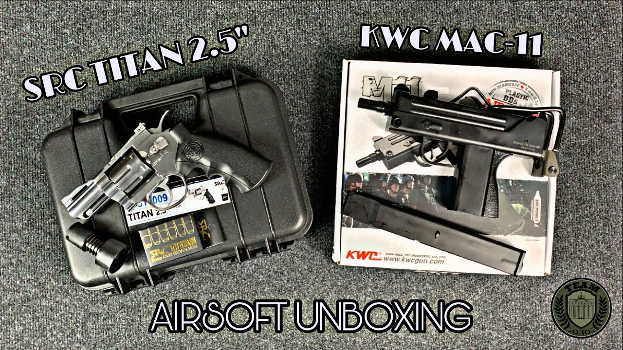 "[UNBX] KWC MAC-11 CO₂ NBB & SRC TITAN 2.5"" CO₂ Revolver Airsoft Unboxing deutsch/german"