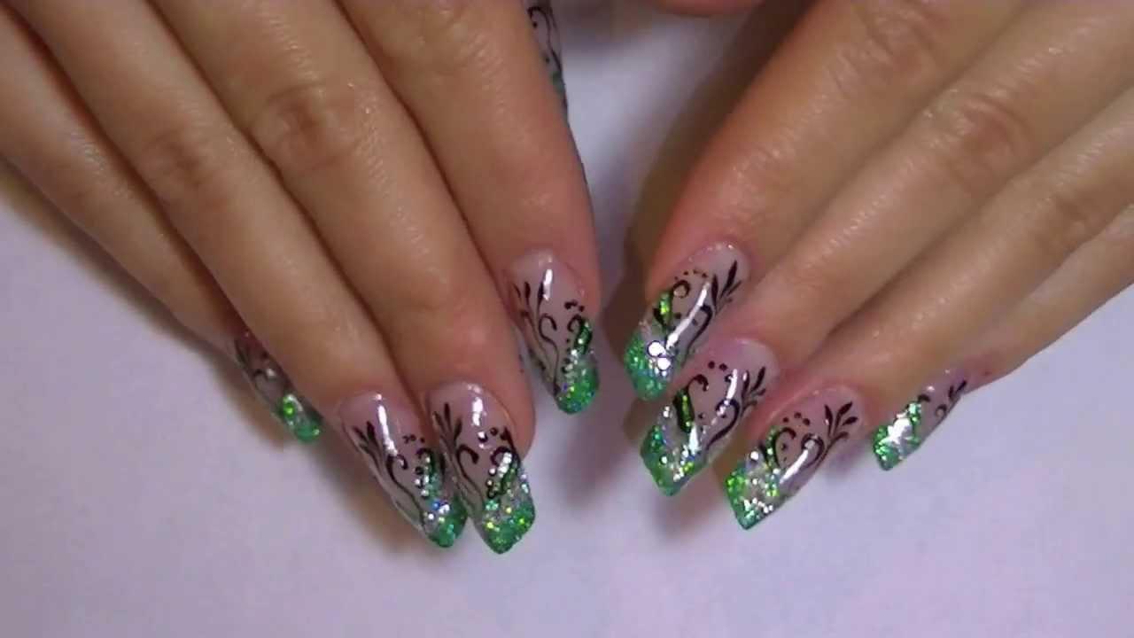 green and silver glitter nail art