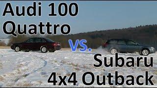 Audi Power - Audi 100 Quattro vs. Subaru Outback AWD - Tug of War ❄️💪