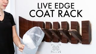 Live Edge Piano Hinge Coat Rack // DIY // Modern // Woodworking