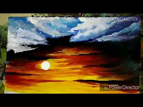 Time lapse Landscape painting with acrylic