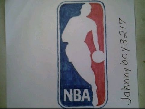 How To Draw The NBA Logo Sign #2 Easy Step By Step Doodle Sketch Tutorial  illustration Challenge