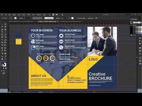 Tri fold brochure design in illustrator | Brochure Design | Illustrator tutorial