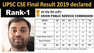 UPSC CSE 2019 Final Result Out 1st Rank Pradeep Singh, 2nd JATIN KISHORE Analysis by Veer