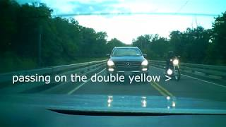 Motorcycle passes on double yellow, instant regret.