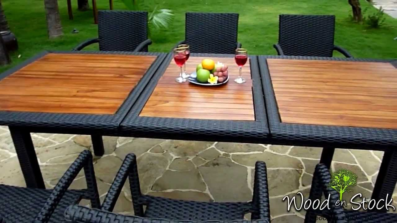 salon de jardin en teck et r sine tress e mod le flores rattan youtube. Black Bedroom Furniture Sets. Home Design Ideas