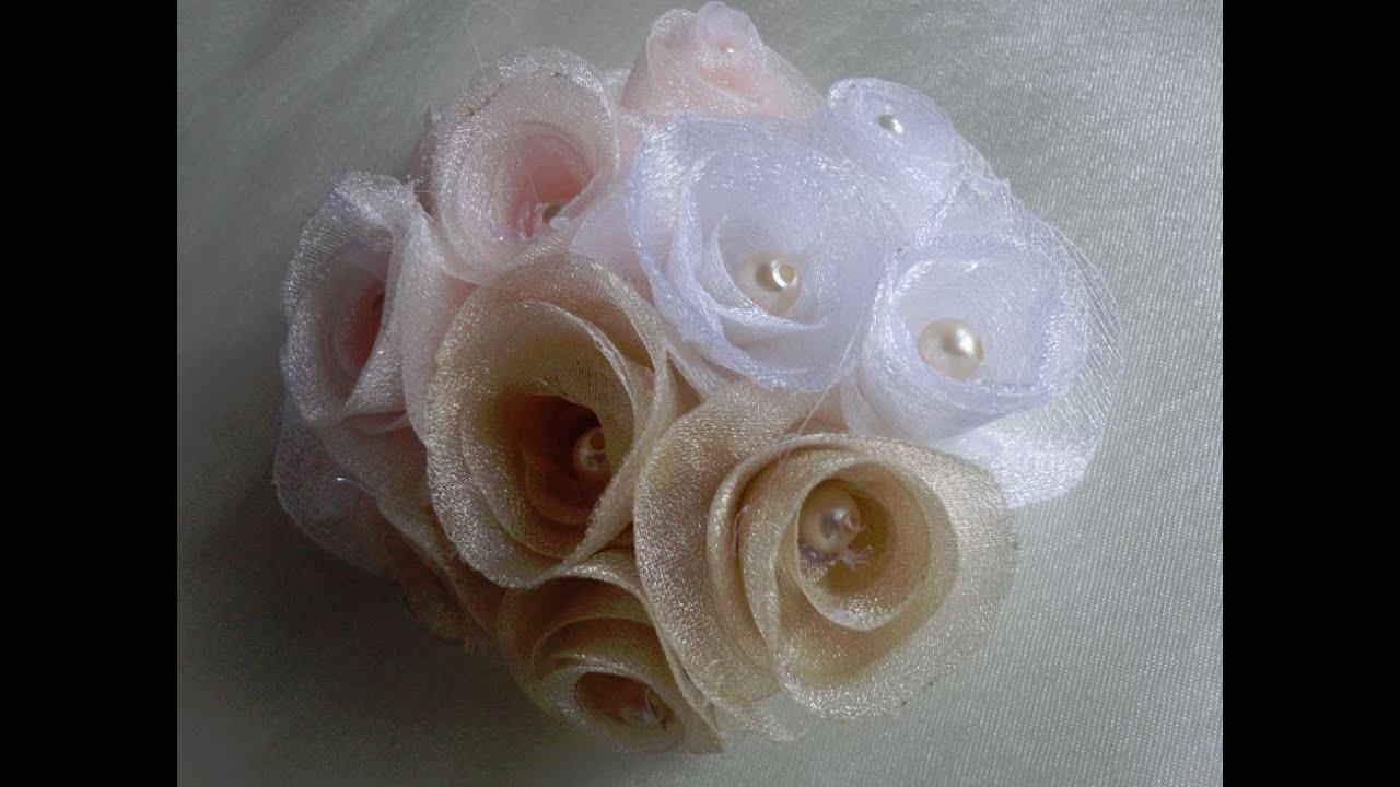 Как сделать цветы из шифона для платья 135