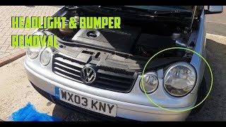 How to Change Mk4 Polo headlight Unit & Bumper Removal