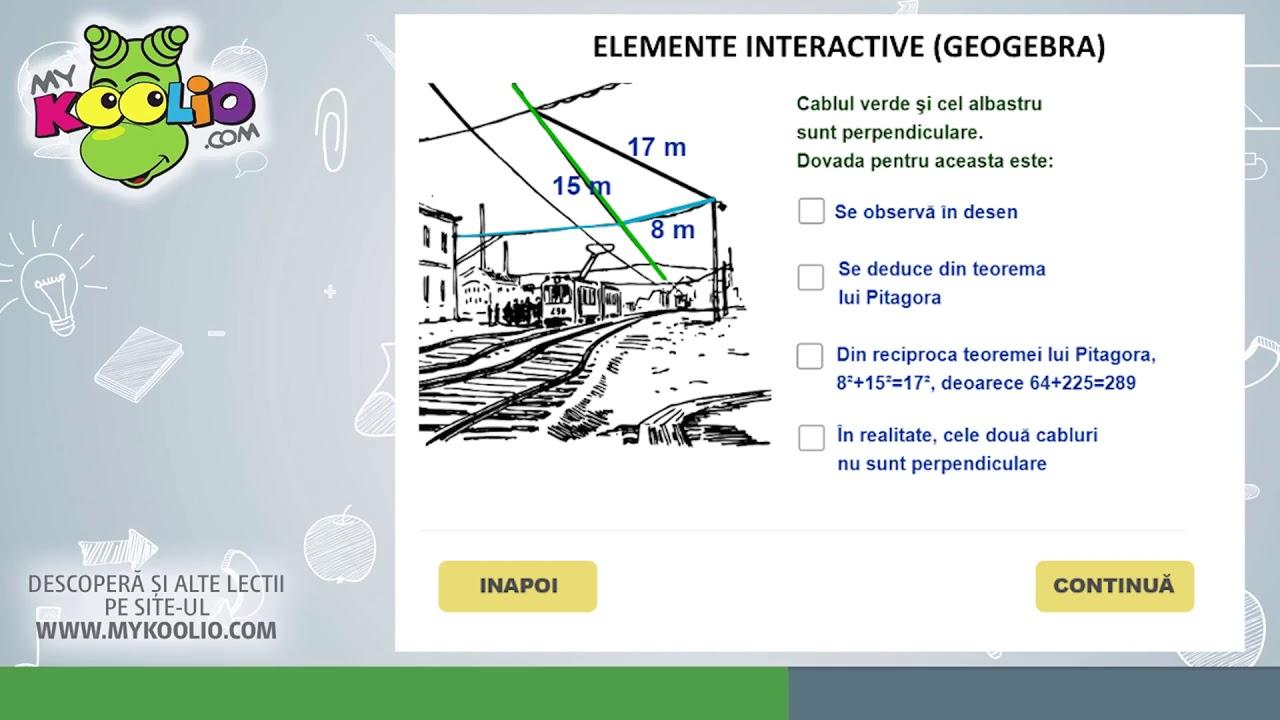 Lecție demo matematică, clasa a VI-a, Teorema lui Pitagora