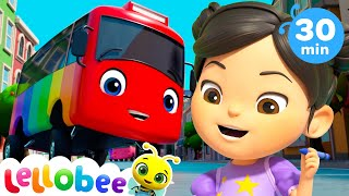 TEN Little Buses | +More Lellobee City Farm! - Cartoons and Kids Songs | Learning Videos For Kids